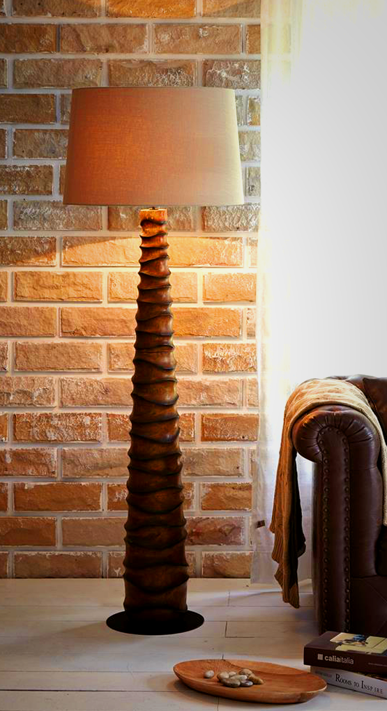 Handcrafted Solid Wood Floor Lamp Made From High Quality Thai