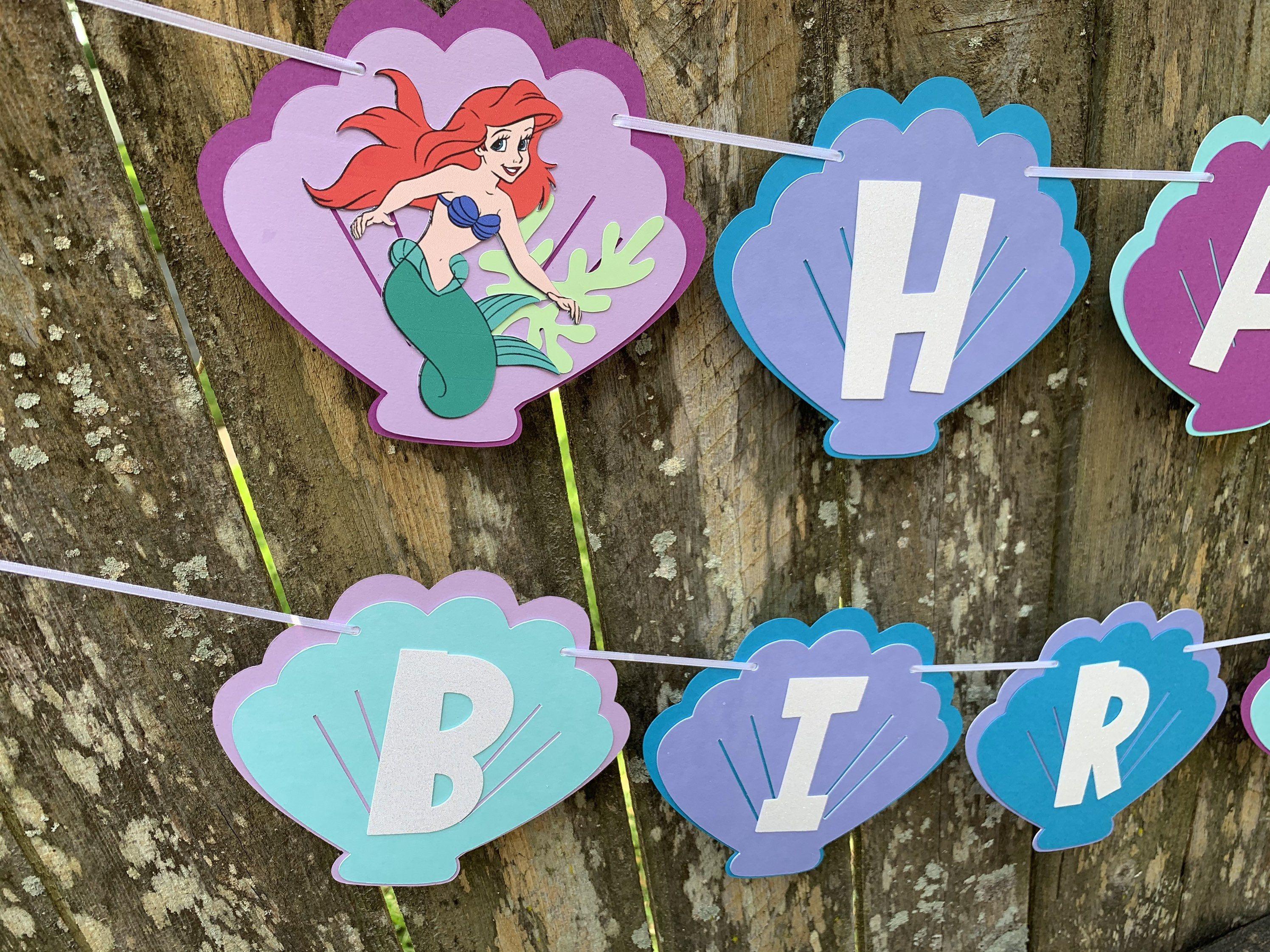 under the sea Ariel Little mermaid inspired birthday banner Little Mermaid Birthday Banner Little Mermaid Birthday Party decorations