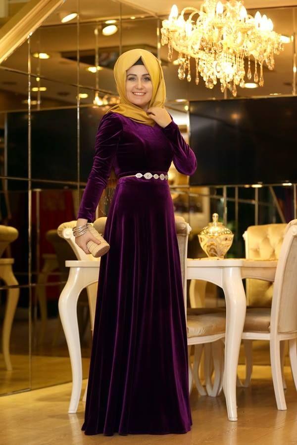 5ed29b6a0e84e Kışlık tesettür kadife abiye modelleri | Muslimah Fashion & Hijab ...