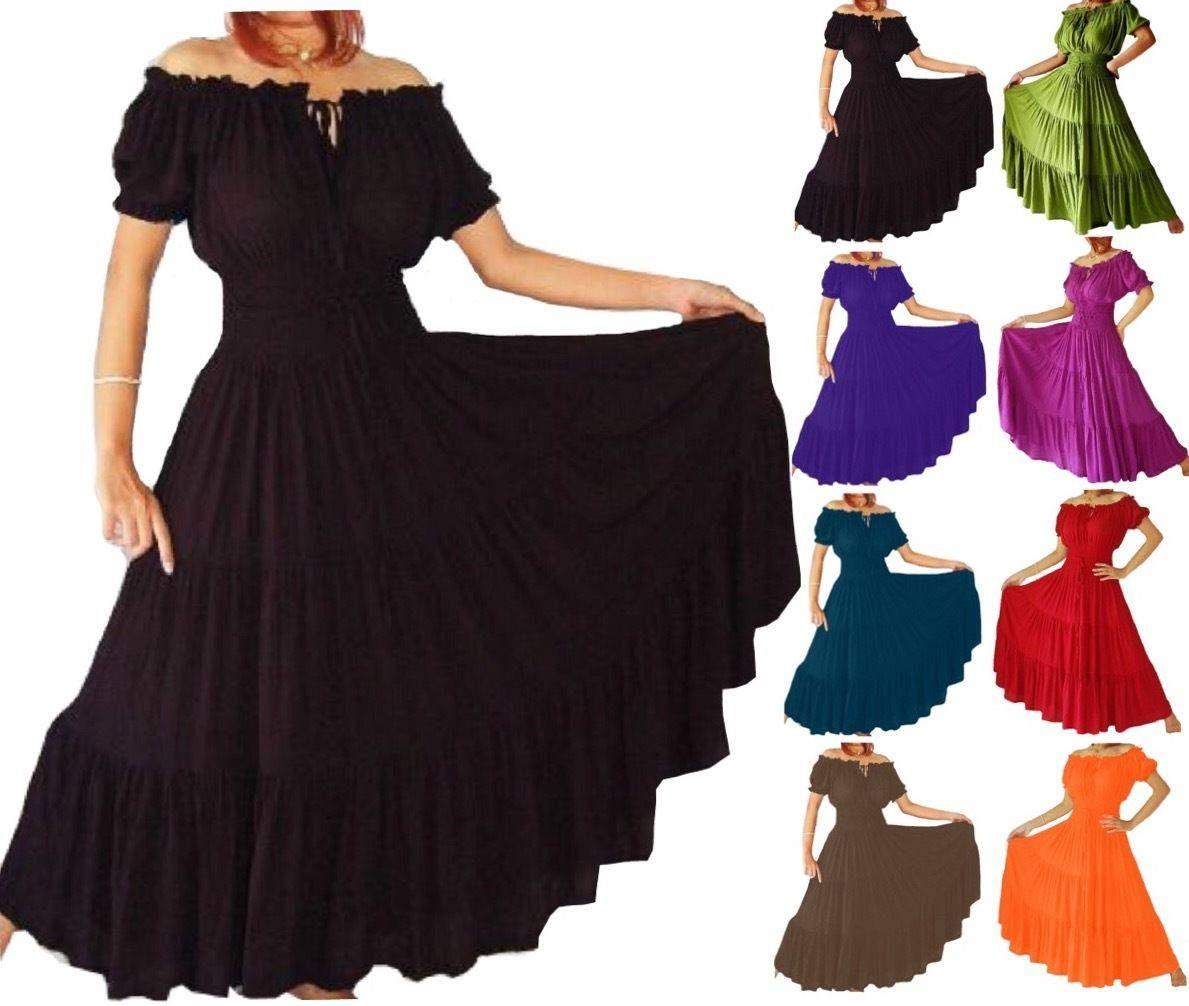BoHo Mexican Dress Frida Kahlo - Elasticized Waist Tiered Skirt