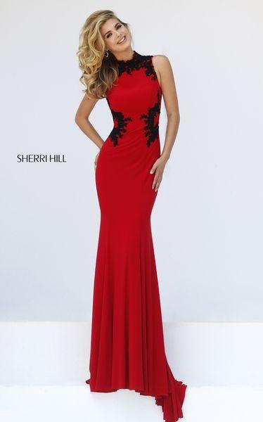 Sherri HIll Prom Spring 2016 # 50103 www.thecastlepromandbridal.com Red  Black
