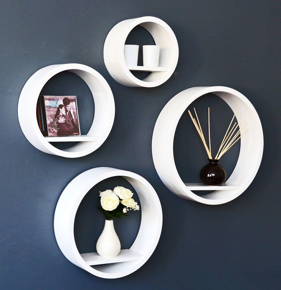 4x mensole rotonde bianche cube set lounge retr mensole da parete per cd lista de la compra - Mensole da parete design ...