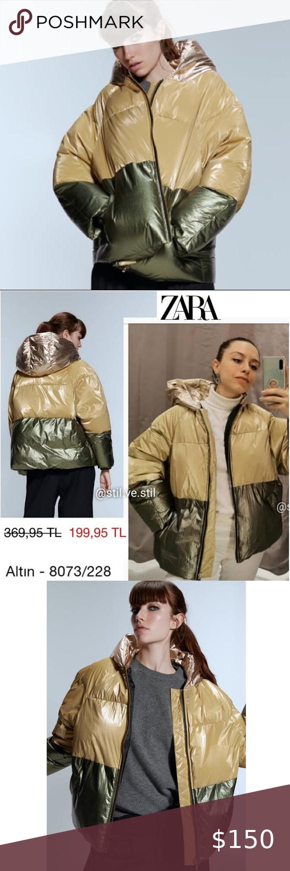 Nwt Zara Color Block Green Gold Puffer Jacket L Coats Jackets Women Zara Long Puffer Coat [ 1740 x 580 Pixel ]