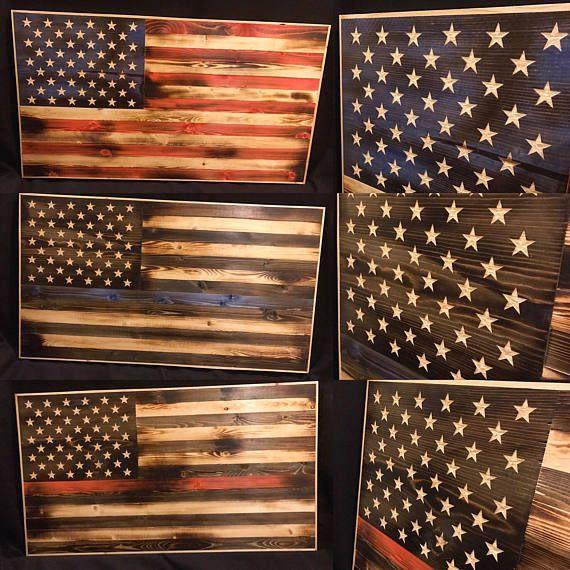 Burnt Wood American Flag Wall Art