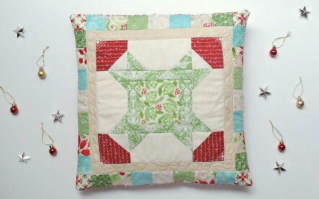 "Christmas Star pillow tutorial - includes the block tutorial, but the patchwork border will work for any 12"" quilt block! 