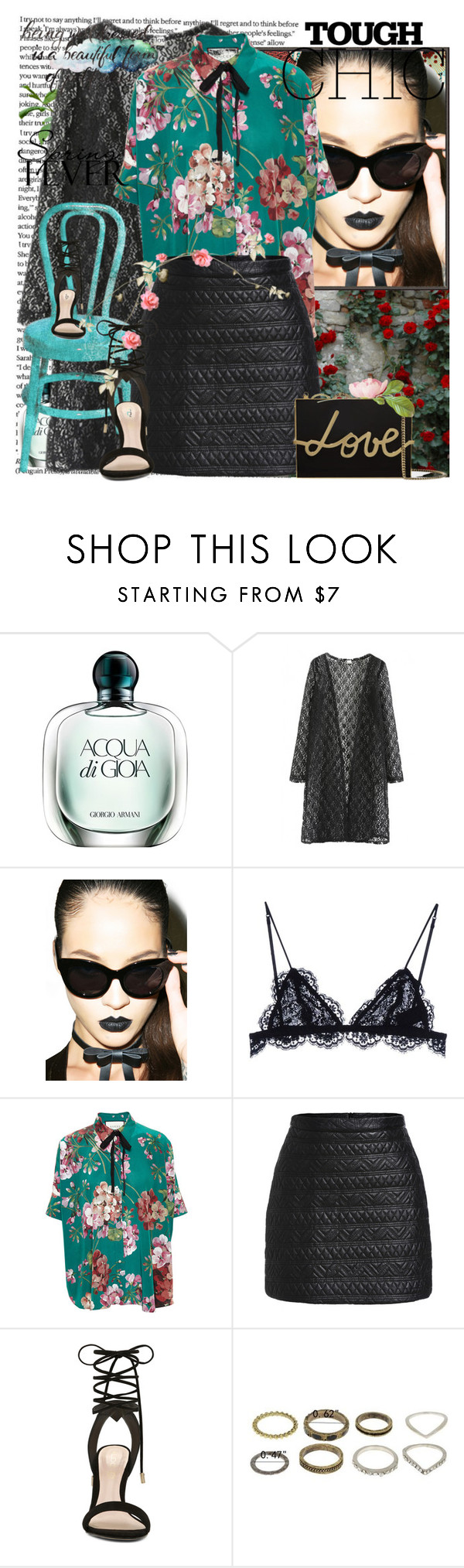 """""""In the Spring!"""" by hennie-henne ❤ liked on Polyvore featuring Giorgio Armani, WithChic, Cotton Candy, Bellagio, Cheap Monday, Isabel Marant, Gucci, ALDO and Lanvin"""