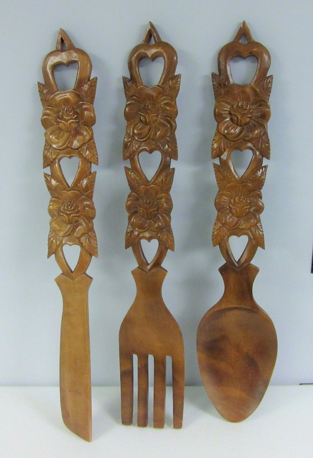Vintage Wooden Spoon Fork Knife Wall Decor Large 32 12 Carved