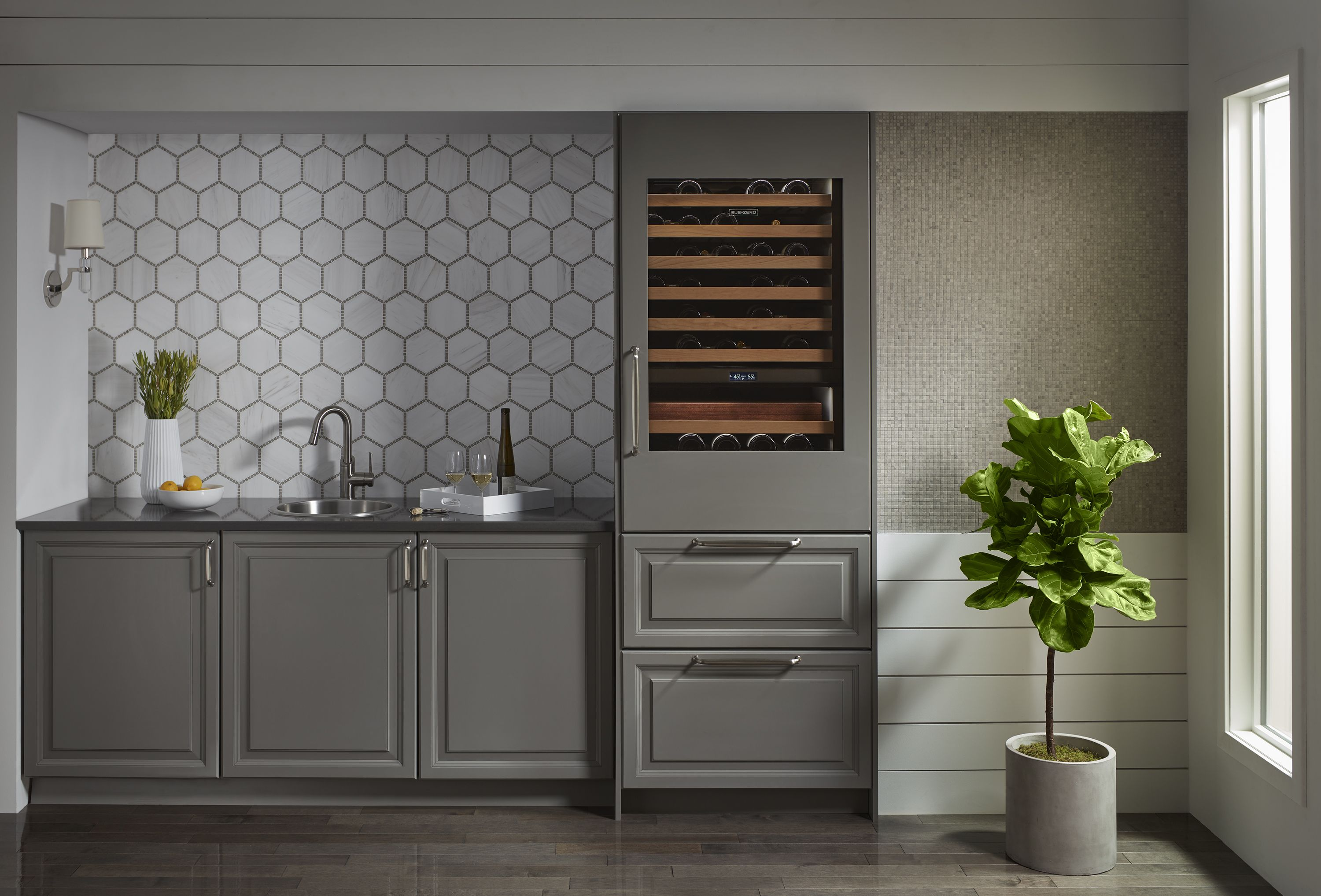 Drinking In Style This Beautiful Transitional Home Wet Bar Features Ultracraft Cabinetry S Ash Kitchen Design Kitchen Inspirations Residential Interior Design