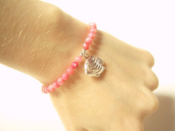 Silver Fish Charm Bracelet with Pink Coral