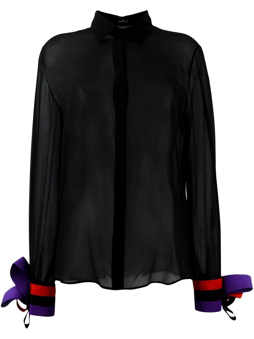 CAPUCCI  striped cuff blouse