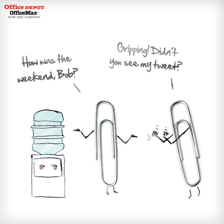 Office Working Paperclips Meet Up At The Water Cooler