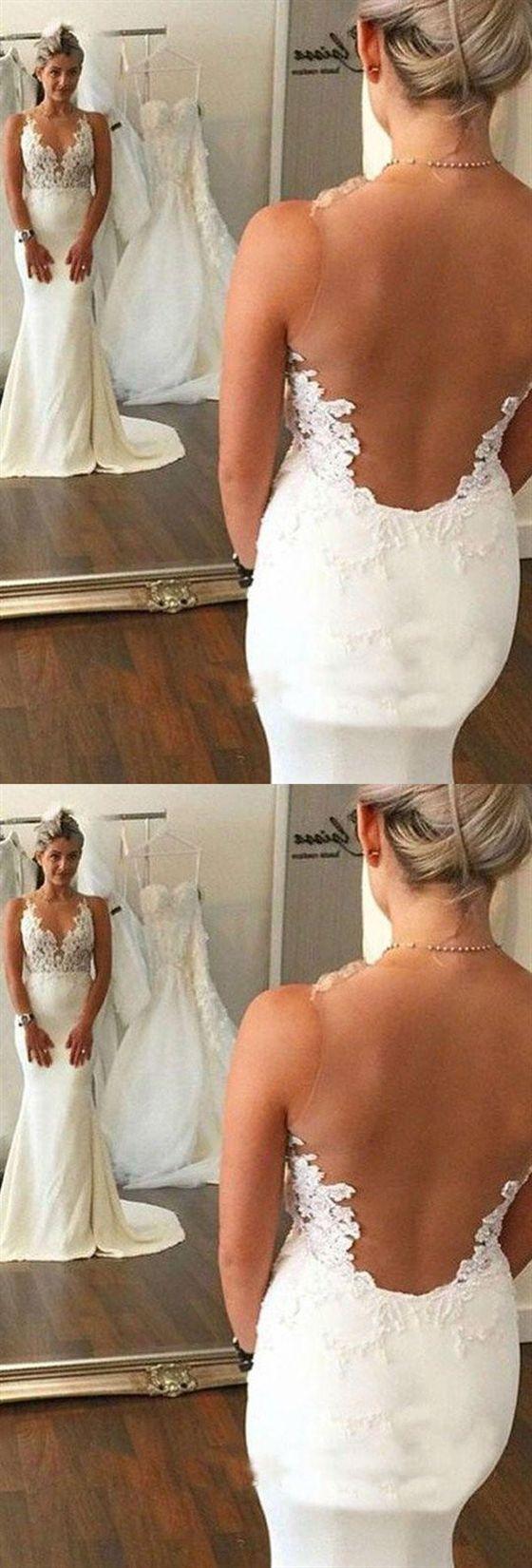 V-Ausschnitt Strap Open Back Mermaid Satin Brautkleider Best Bride Gown