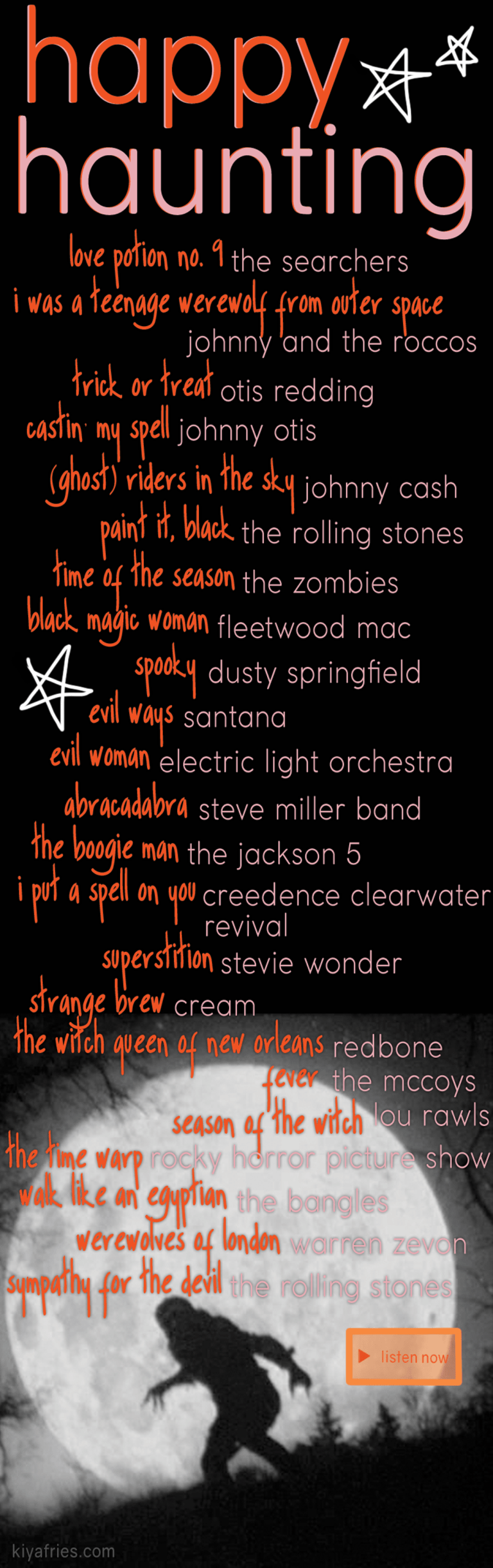 Holiday Music 5 Unique Halloween Playlists Kiyafries In 2020 Halloween Playlist Halloween Music Unique Halloween
