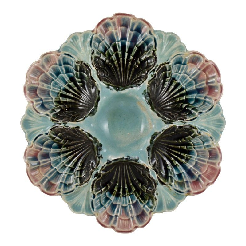 Five-Lille French Majolica Pink Rim Shell Oyster Plate #pinkrims