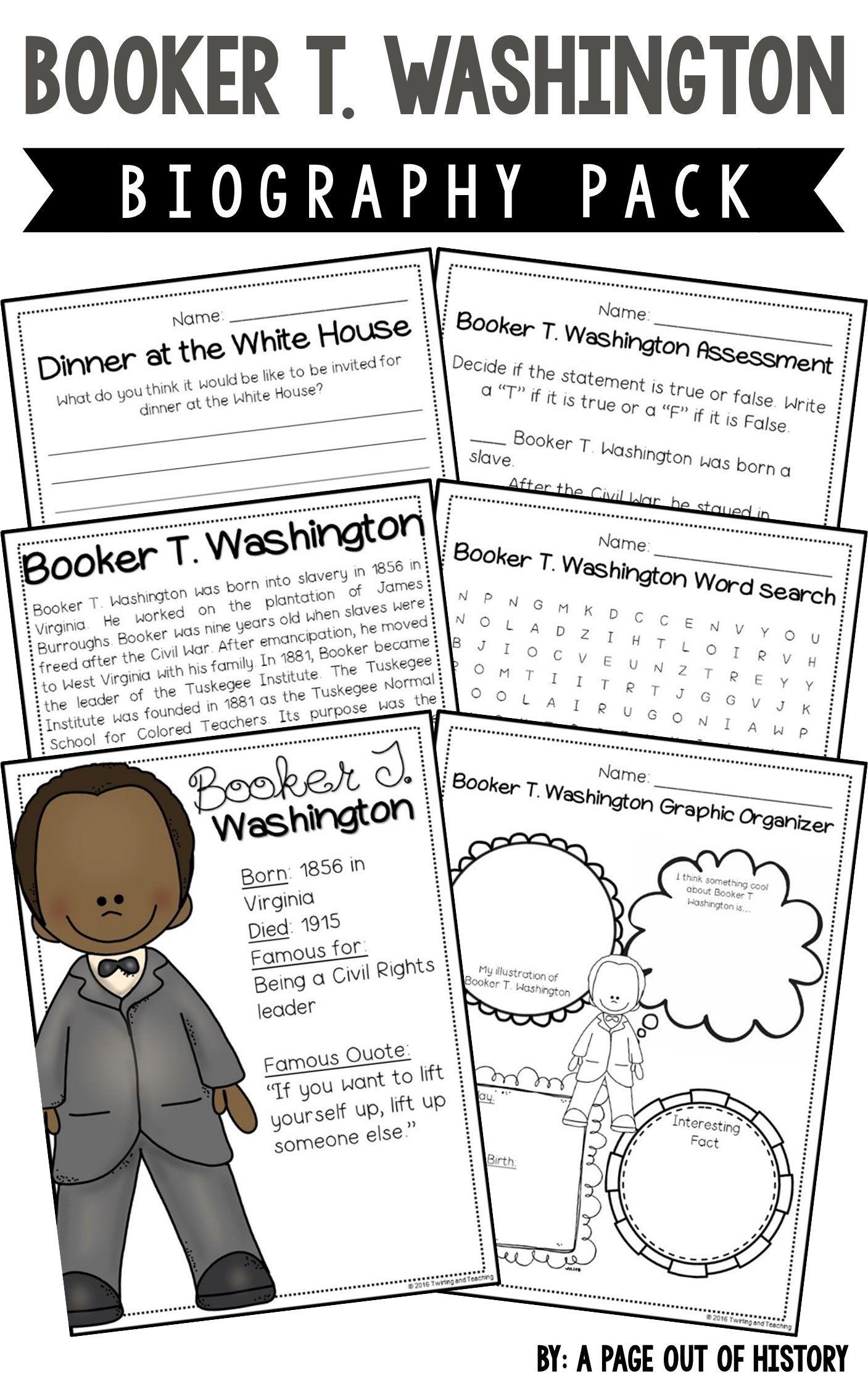 Booker T Washington Biography Pack Black History Month