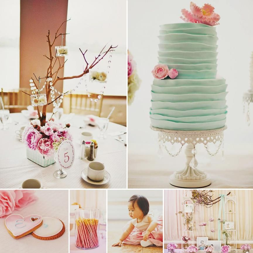 Gorgeous Pink Teal Modern Dol First Birthday by Angy Co http
