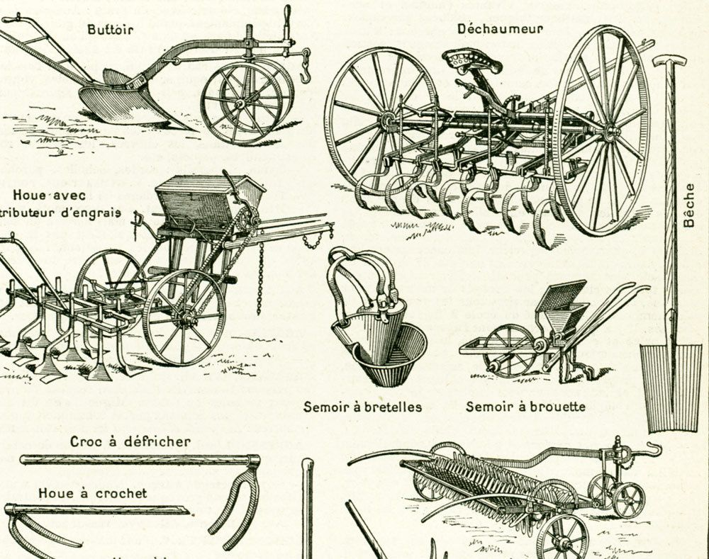 1897 agriculture tools sowing machine original antique print farming equipment french. Black Bedroom Furniture Sets. Home Design Ideas