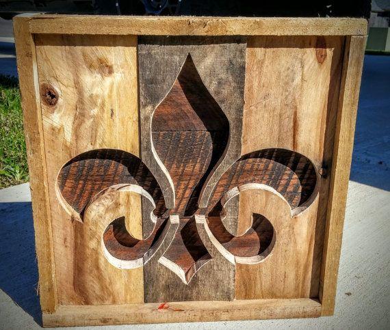 Handmade Reclaimed Rustic Pallet Wood Fleur De Lis Wall Decor Made