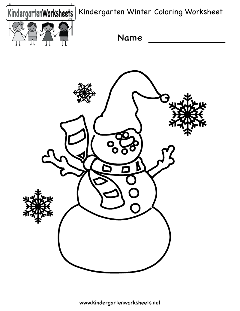 Kindergarten Winter Coloring Worksheet