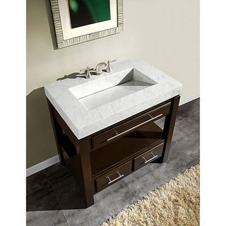 Silkroad Exclusive Inch Carrara White Marble Stone Top Bathroom