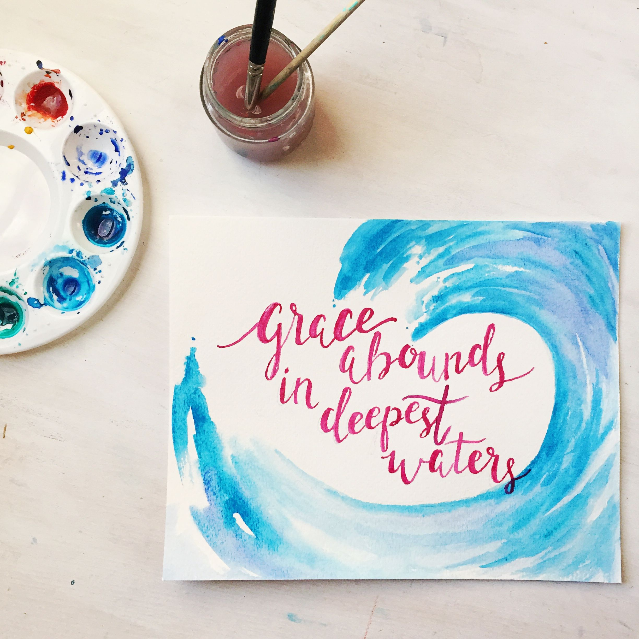 Grace Abounds In Deepest Waters Watercolor Painting Bible Art