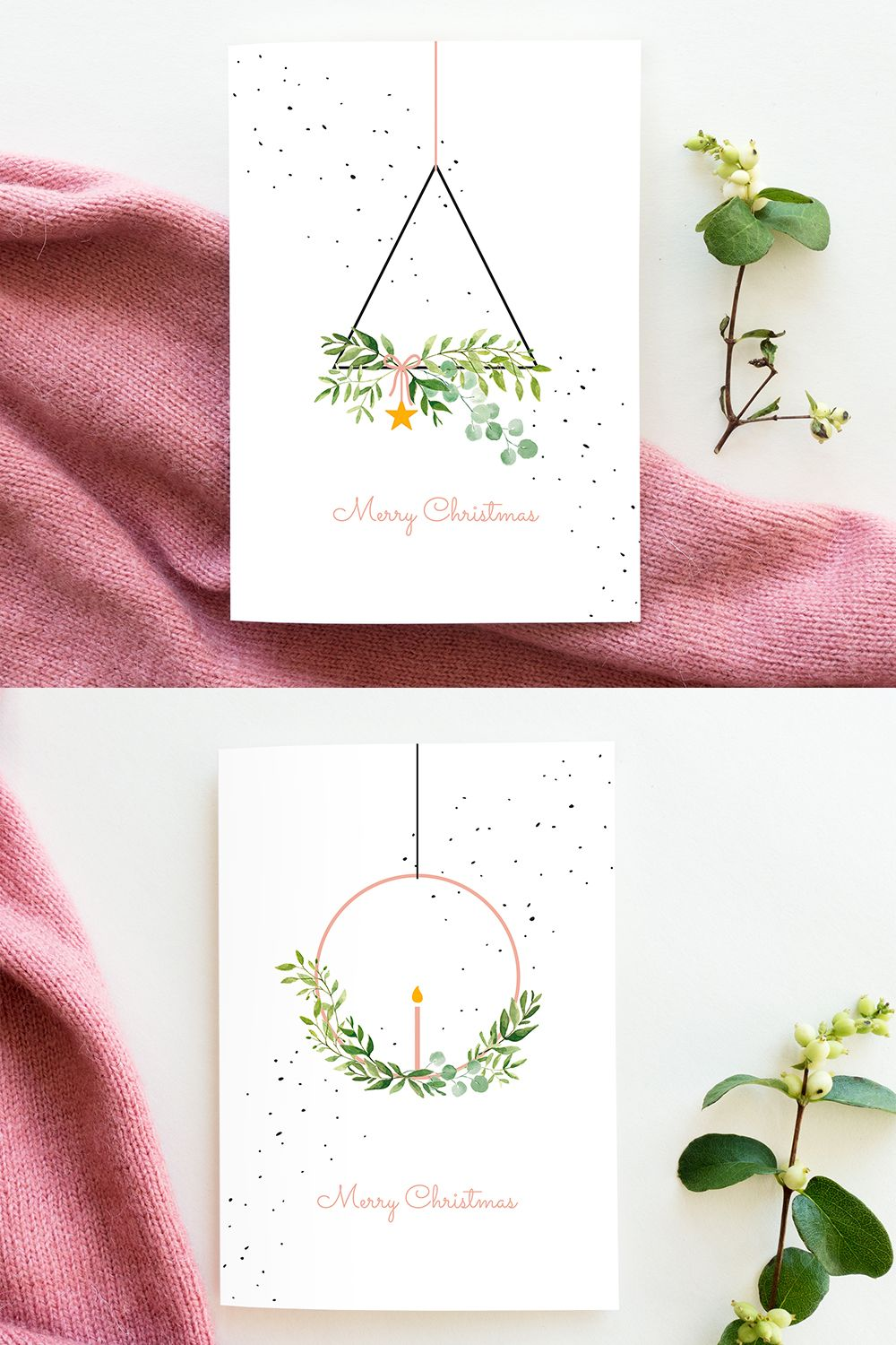 Christmas Cards Set Wreaths Modern Watercolor Merry Christmas Card Pack Scandinavian Christmas Illustration Minimalist Folded Xmas Cards Watercolor Christmas Cards Christmas Cards Handmade Christmas Greeting Cards Handmade