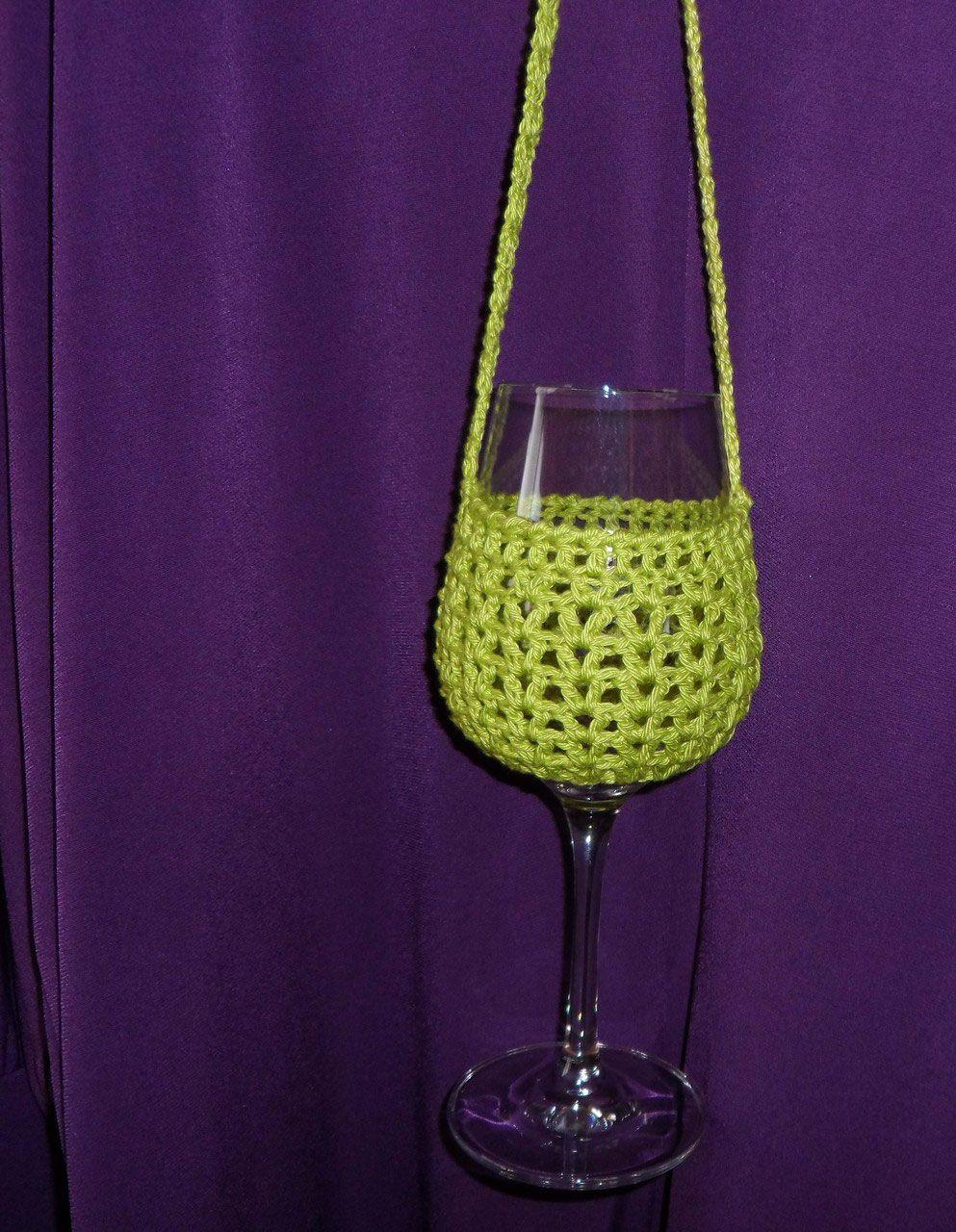 Weinglas-Halter... | Häkeln | Pinterest | Weingläser, Halter und Deko