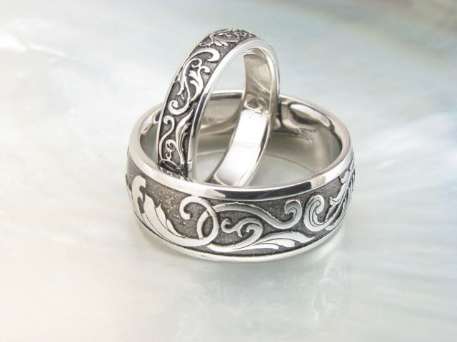 handmade victorian scroll wedding rings by ravens refuge via flickr - Handmade Wedding Rings