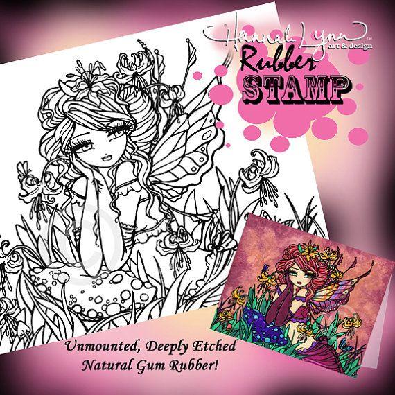 UM Rubber Glacier Lily Fairy Mushroom Stamp by hannahlynnart
