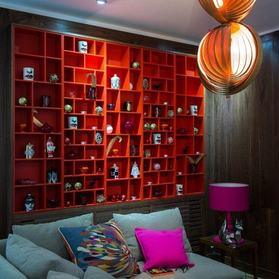 Dunkles Holz und rote Tomaten Wohnzimmer Wohnideen Innenräume - wohnideen wohnzimmer holz