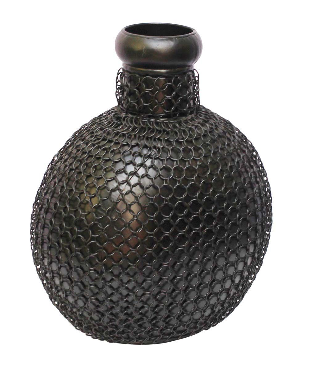 Bulk Wholesale Handmade 12 Iron Flower Vase In Pot Shape Black