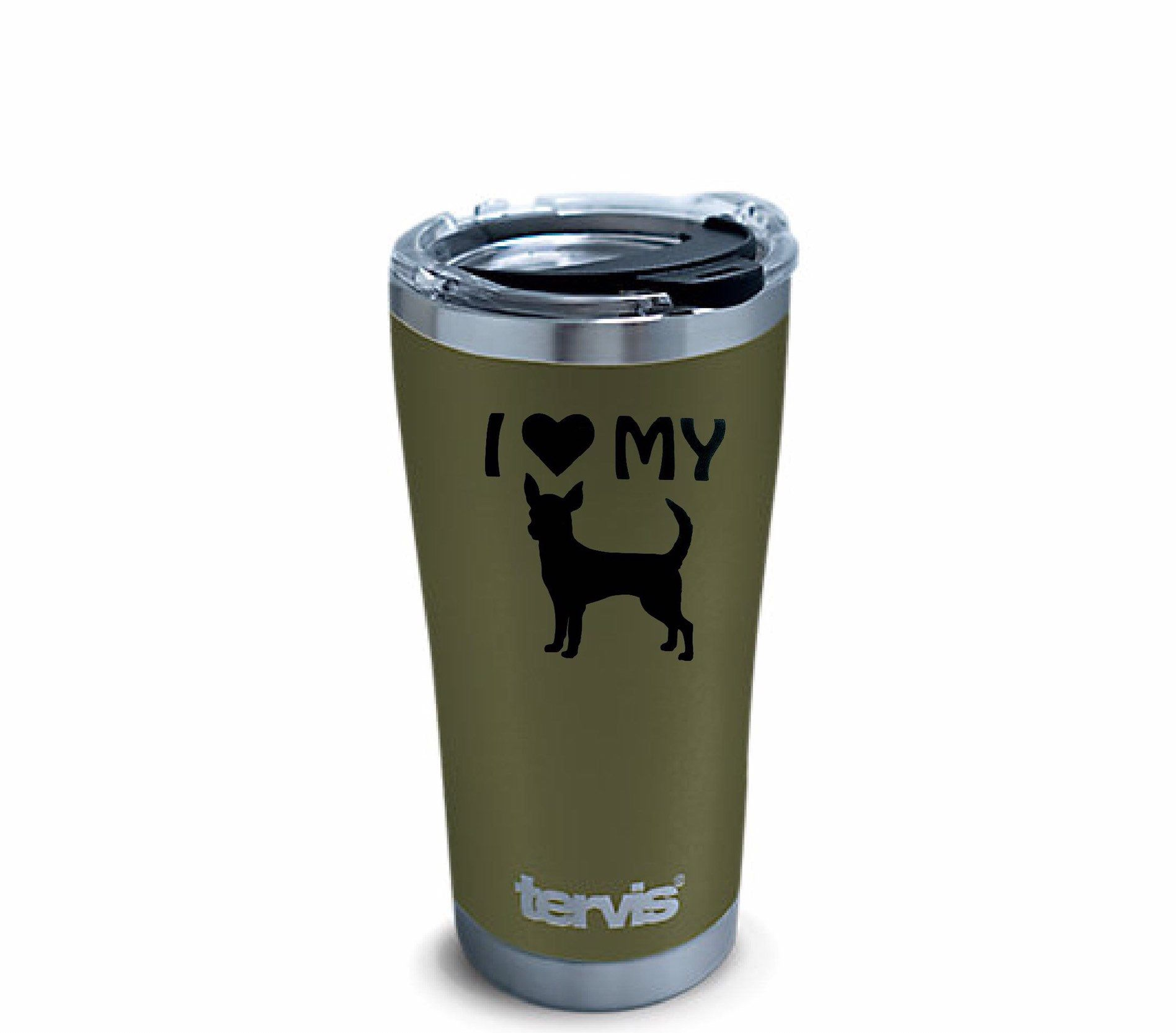 Chihuahua Stainless Tumbler for Chihuahua Lovers, Custom Double Wall Insulated Cup, Olive Powder Coat Steel Tumbler for Dog Lovers