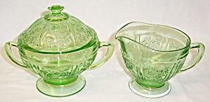 Federal Green SHARON Cabbage Rose CREAMER,SUGAR,LID