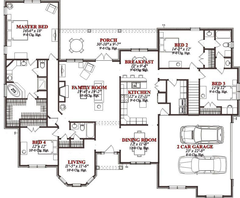 Bedrooms, 3 Batrooms, On 2 Levels, House Plan #826