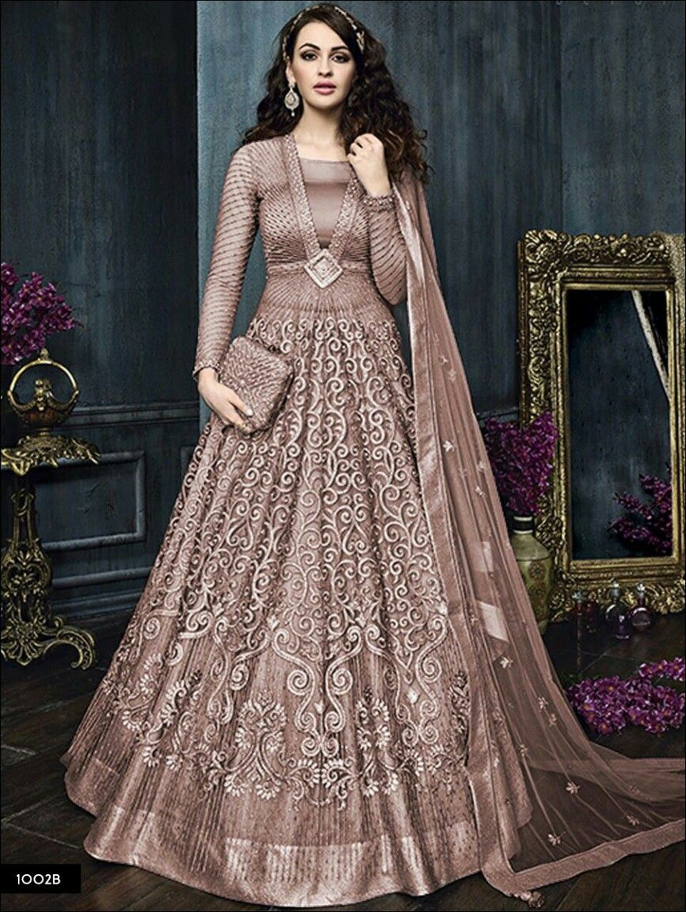 db19a88d6 A pretty mocha evening gown. | Dresses in 2019 | Long anarkali gown ...