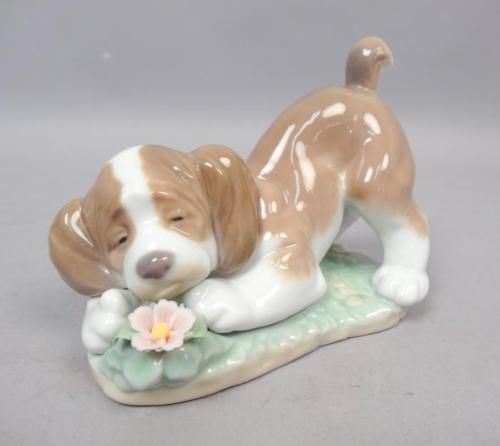 Lladro-6832-A-Sweet-Smell-Porcelain-Figurine-w-Box-Puppy-Flowers-Retired