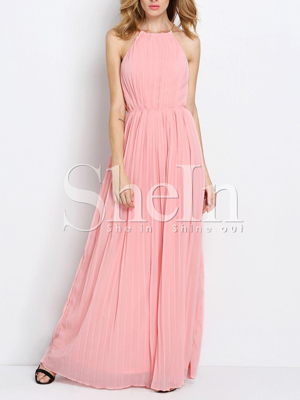 Vestido largo Halter sin mangas-rosado