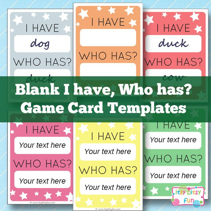 I have Who Has Template - Learning Games for Kids   Game cards, Free ...