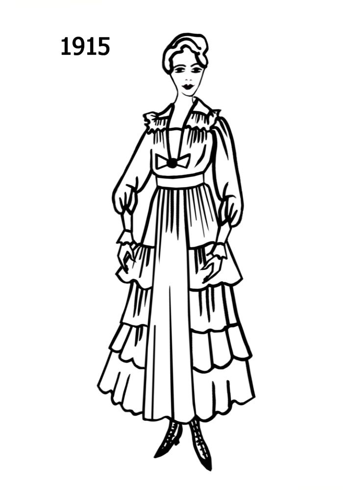 Line Drawing Of The Fashion History Era 1915 Vintage Designer Fashion Fashion History Dress Sketches