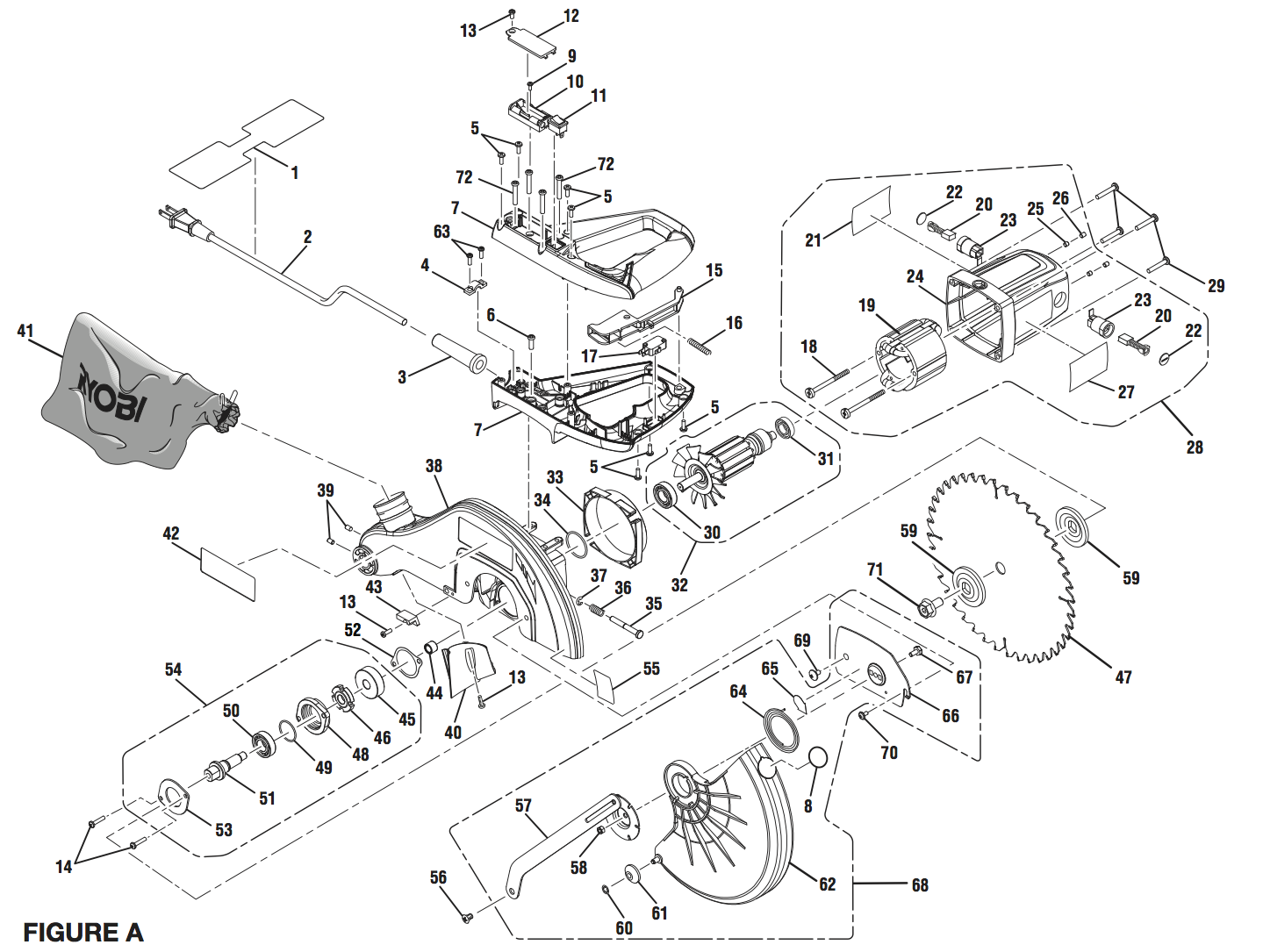 ts1344l ryobi miter saw exploded view parts diagram [ 1439 x 1085 Pixel ]