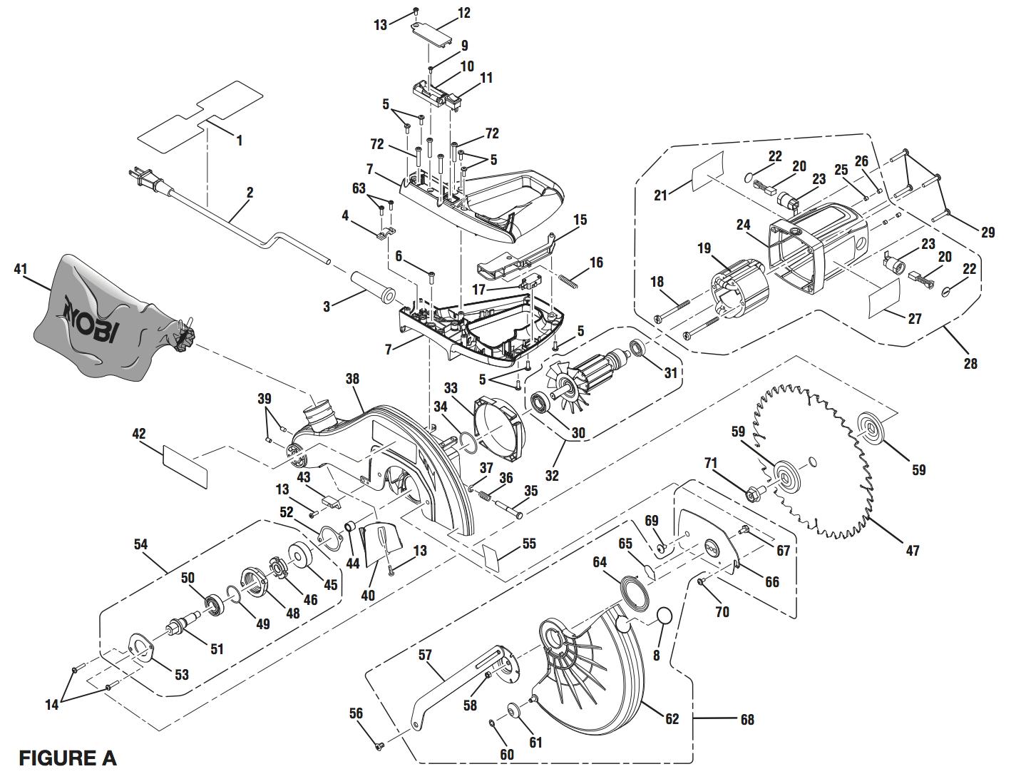 Ts L Ryobi Miter Saw Exploded View Parts Diagram