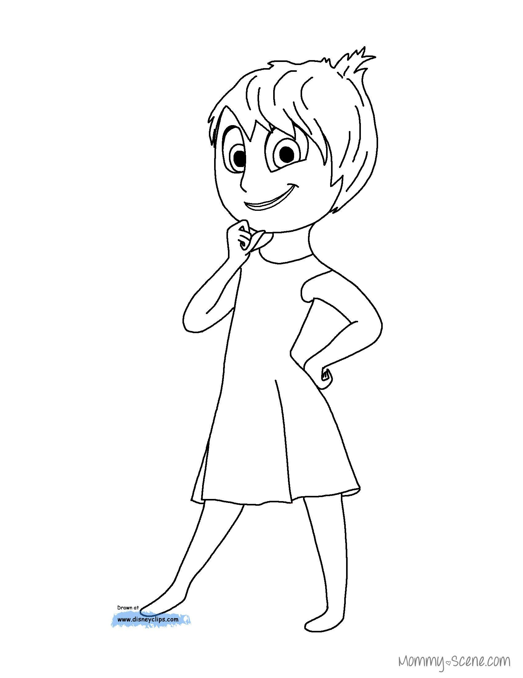Inside out coloring pages riley - Disney S Inside Out Coloring Pages