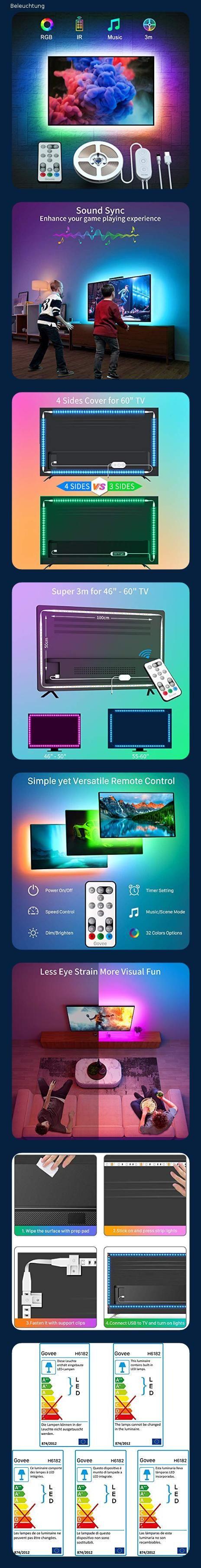 Govee 3M USB Strip Lichtband mit 3m LED TV Hintergrundbeleuchtung