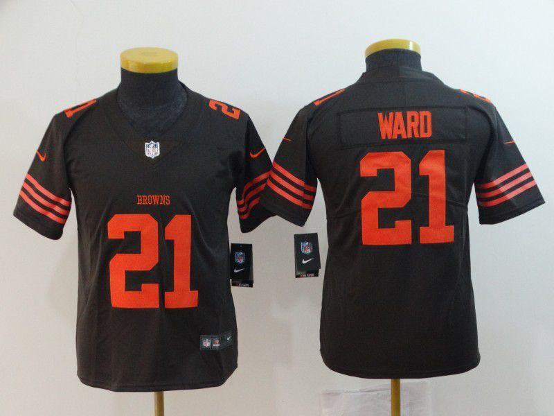 Youth Cleveland Browns 21 Ward Brown Nike Vapor Untouchable Limited