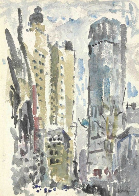 John Marin (American, 1870-1953), New York Skyline, c.1912. Watercolor and pencil on paper, 30.5 x 22.2 cm.
