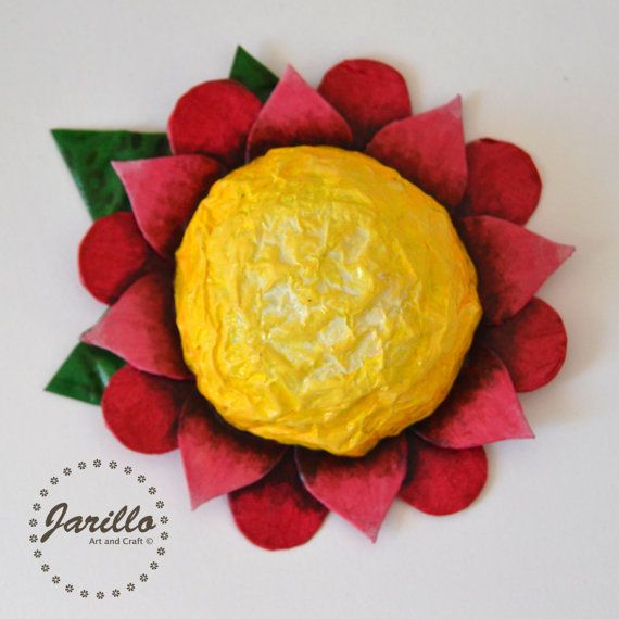Paper Mache Flower - Red Flower Wall Decor - Floral Decorations ...