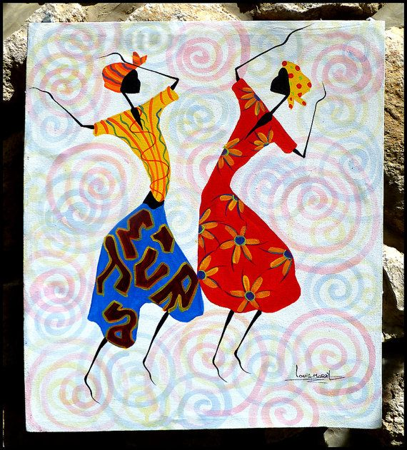 Colorful Haitian Women Dancers  Hand Painted by TropicAccents, $39.95   Haitian Art  #Haiti