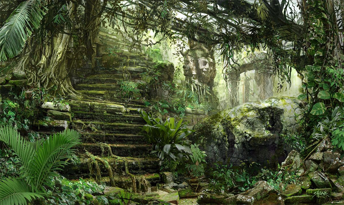 THE ART OF JARED SHEAR | Statues/Buildings Concept Art | Temple ruins, Jungle art и Jungle temple