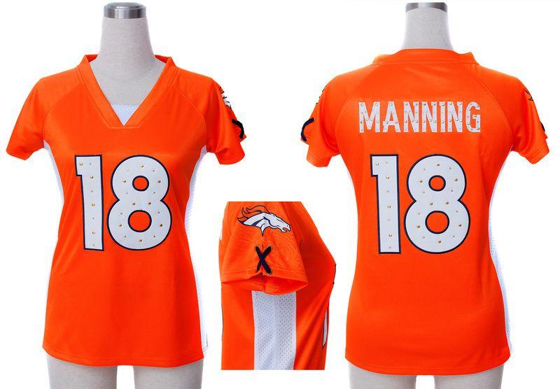 NFL Broncos #18 Peyton Manning Orange Fashion Women Rhinestone ...