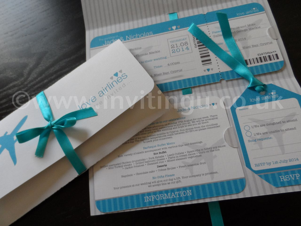Boarding P Wedding Invites White Card Pea Ribbon Www Invitingu Co